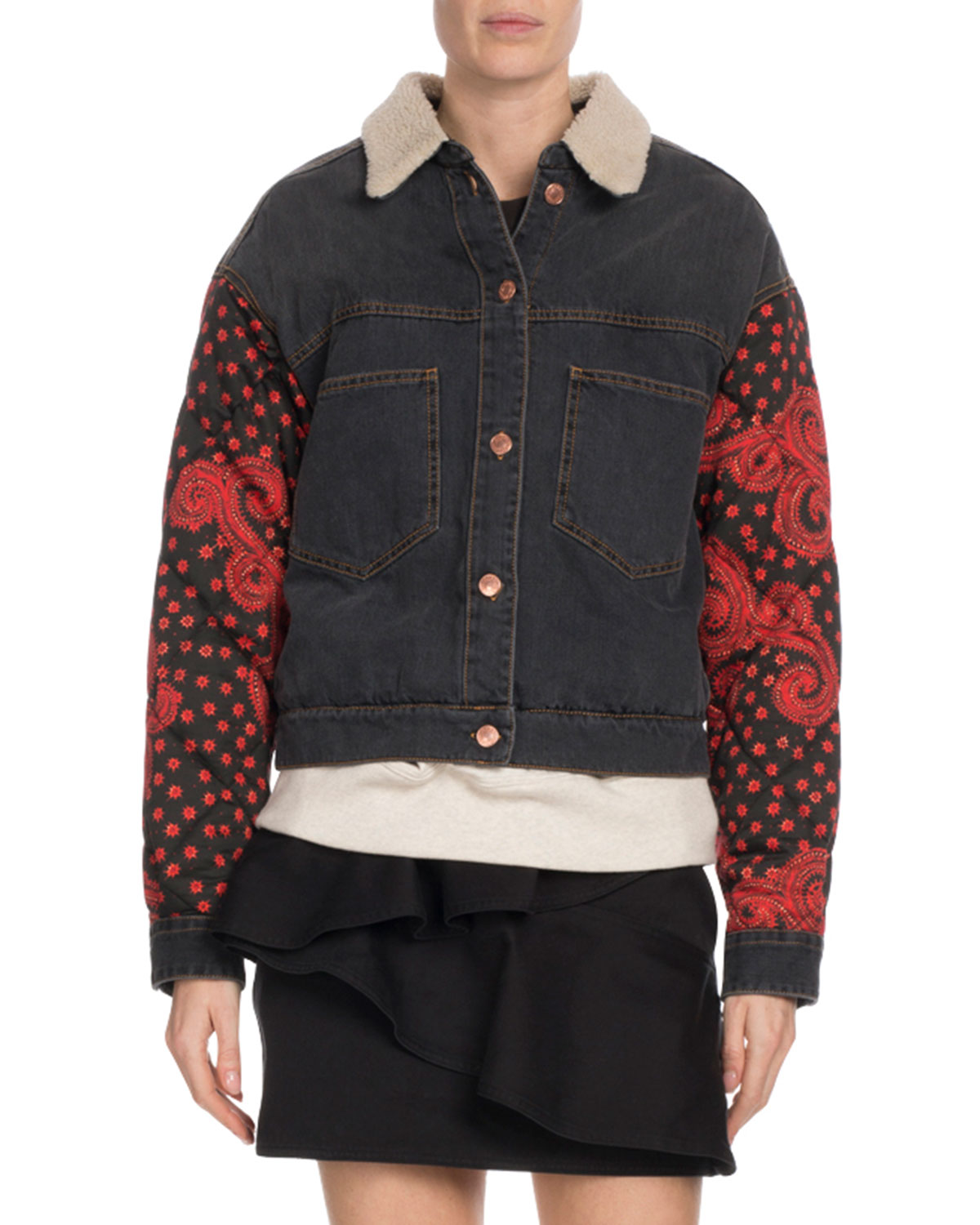 Etoile Isabel Marant Chrissa Jean Jacket w  Quilted Sleeves  7d7adcbdd5b