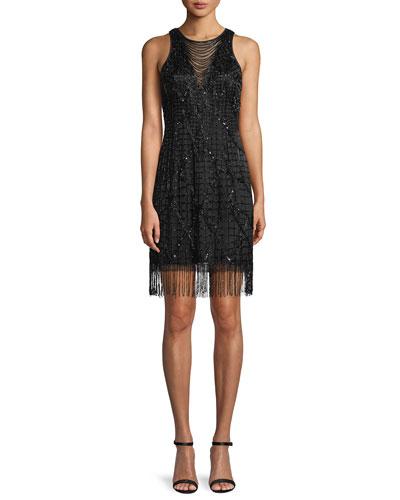 Sleeveless Little Black Cocktail Dress w/ Beading & Fringe