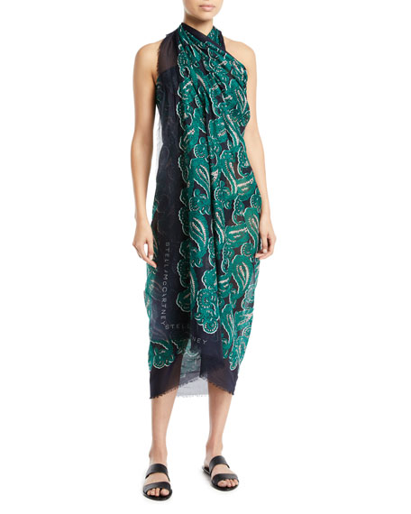 Paisley-Print Cotton Pareo Coverup