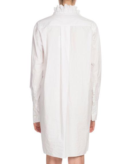 Milena Ruffle High-Neck Cotton Shirt Dress