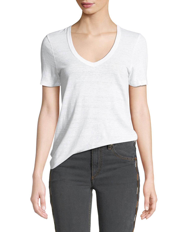682a4f6d4708 Etoile Isabel Marant Kranger Short-Sleeve Linen V-Neck Tee   Neiman ...