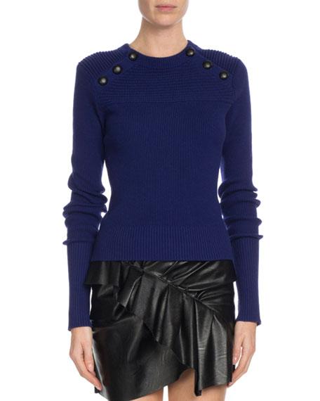 2ccae9ed4b23 Etoile Isabel Marant Koyle Ribbed Button-Trim Sweater | Neiman Marcus
