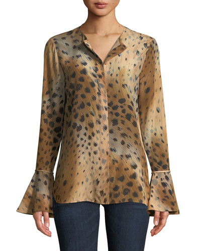 Izzie Agave Leopard-Print Silk Blouse w/ Bell Sleeves