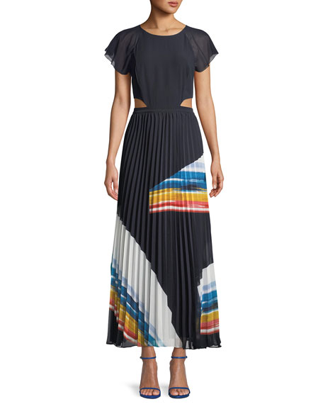 Keitha Pleated Flutter-Sleeve Maxi Dress, Blue