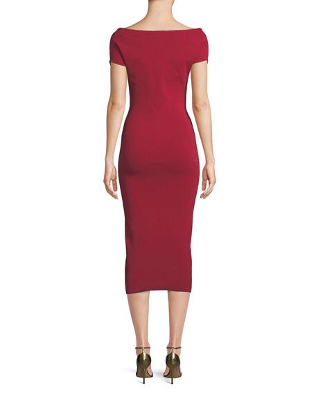 Solace London Cierra Off-the-Shoulder Midi Dress