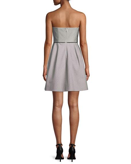 Halston Heritage Striped Strapless Cocktail Dress w/ Folded Drape