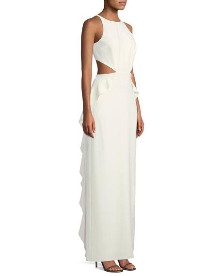 Halston Heritage Sleeveless Ruffle Gown w/ Cutout