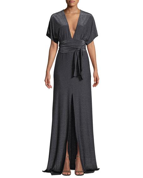 Halston Heritage Metallic Jersey Kimono Gown