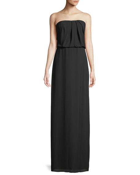 Halston Heritage Strapless Flowy Drape-Back Gown