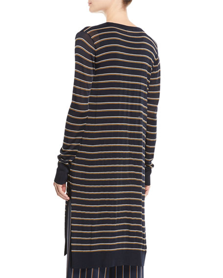 Metropolitan Shine Striped Long Cardigan