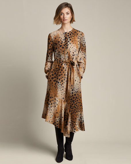 Delancy Agave Leopard-Print Silk Dress