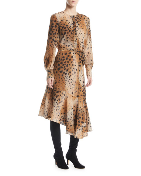 Lafayette 148 New York Delancy Agave Leopard-Print Silk