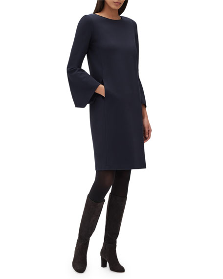 Paloma Punto Milano Dress w/ Trumpet Sleeves
