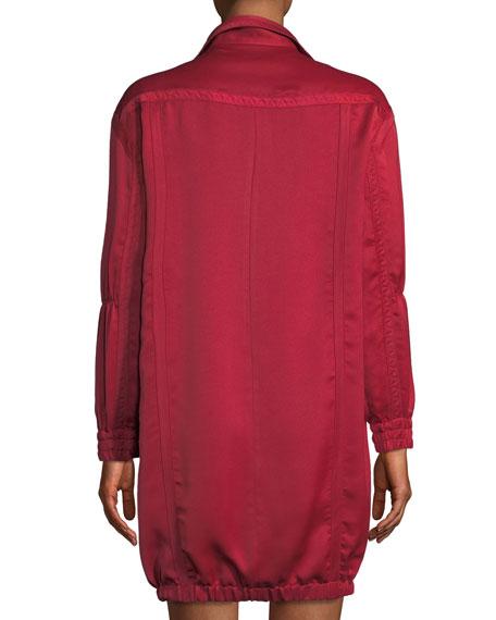 Halston Heritage Tape-Detail Satin Belted Shirtdress