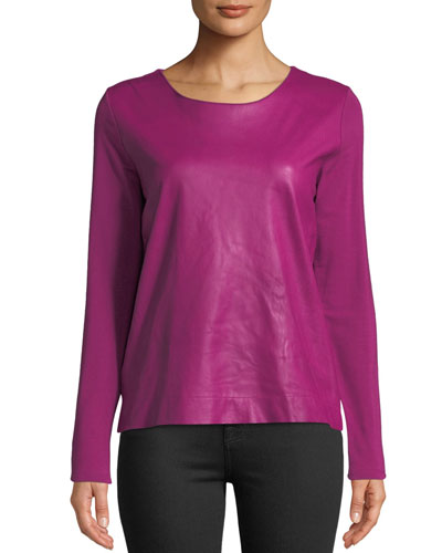 Leather-Front Long-Sleeve Top