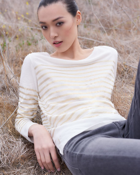 Metallic-Stripe Cotton-Cashmere Long-Sleeve Top