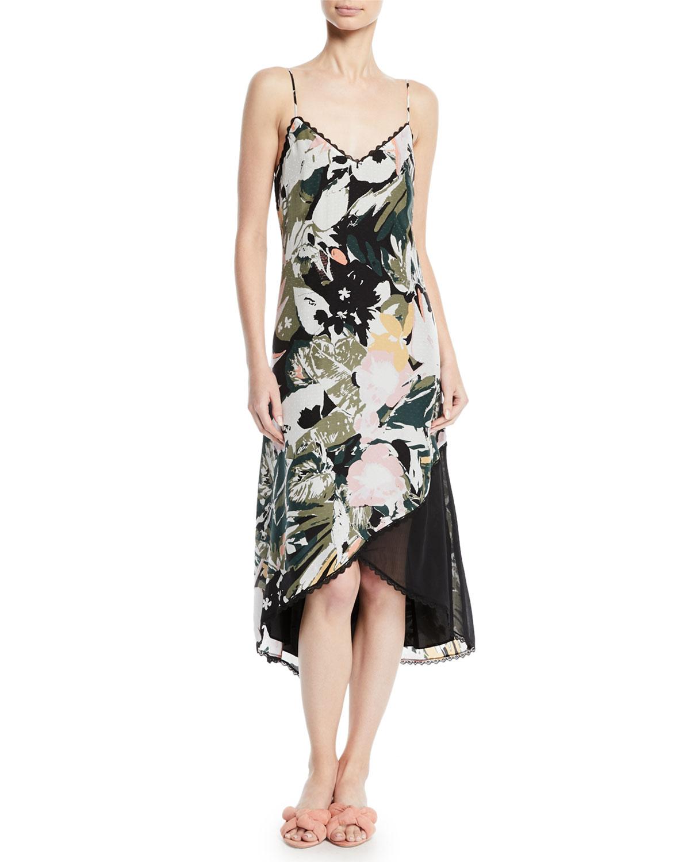 15927fb25104 Club Monaco Kittrick Floral-Print Silk Midi Dress   Neiman Marcus