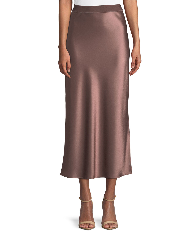 4bfd4742cbb2c4 Theory Flat-Sateen A-Line Maxi Slip Skirt | Neiman Marcus