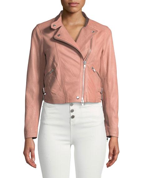 Rowlen Zip-Front Leather Moto Jacket