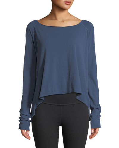 Long-Sleeve High-Low Cotton Tee