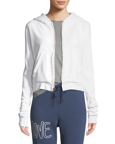 Frayed Zip-Front Cotton Hoodie