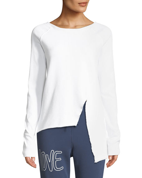 Asymmetric Cotton Sweatshirt, White