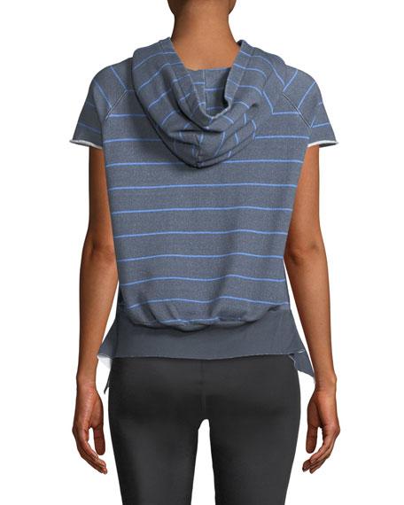 Striped Short-Sleeve Pullover Hoodie