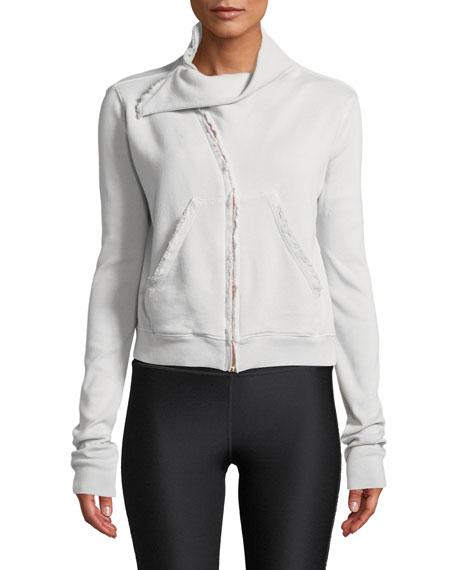 Frayed Zip-Front Fleece Jacket