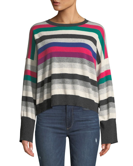 Autumn Cashmere STRIPED WIDE-SLEEVE CASHMERE SWEATER