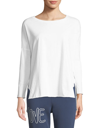 Relaxed Long-Sleeve High-Low Cotton Tee