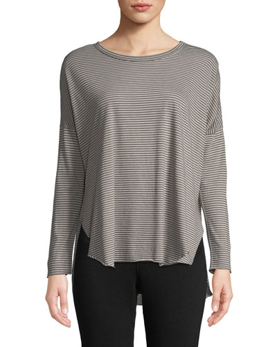 Striped Long-Sleeve High-Low Cotton Tee