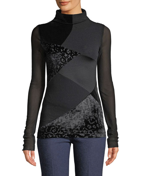Fuzzi Long-Sleeve Velvet Patchwork Turtleneck Top and Matching