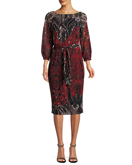 3/4-Sleeve Belted Damask-Print Tulle Dress