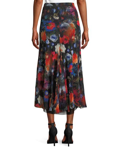 Long Floral-Print Tulle Godet Skirt