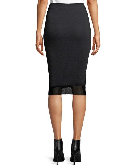 Tucked-Side Tulle Pencil Skirt