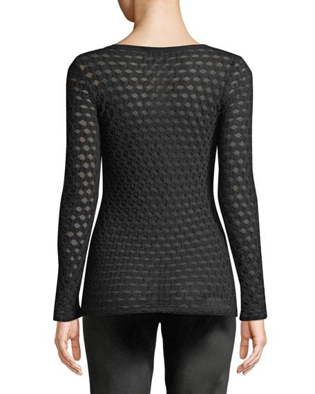 Open-Pattern Long-Sleeve Top