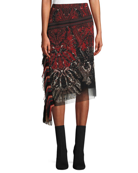 Feather-Print Asymmetric Skirt w/ Fringe