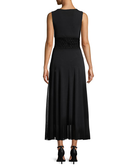 Sleeveless Pattern-Waist Tulle Maxi Dress