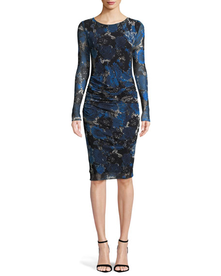 Long-Sleeve Floral Lace-Print Tulle Shirred Dress