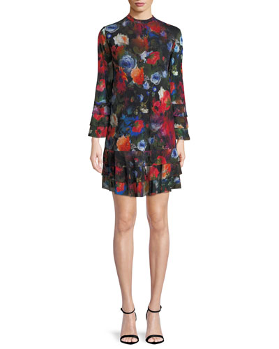 Long-Sleeve Floral-Print Tiered Short Dress