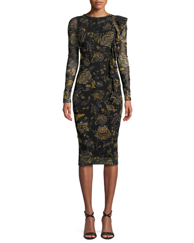 Long-Sleeve Side-Ruffle Bodycon Floral Dress