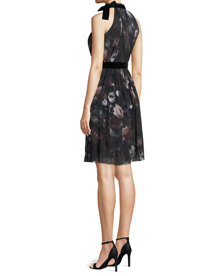 Plum Floral-Print Tulle Halter Dress