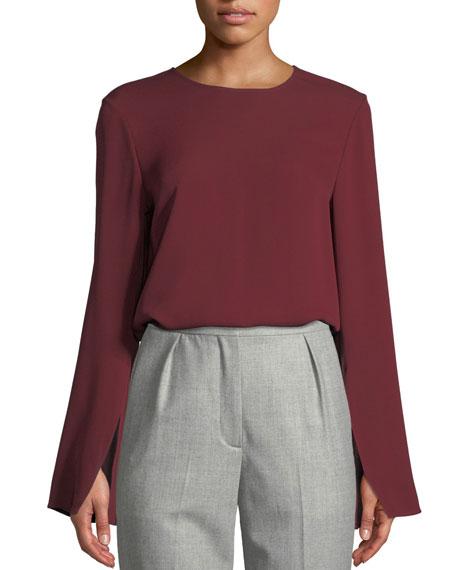 Bringham Crewneck Long-Sleeve Classic Silk Georgette Blouse