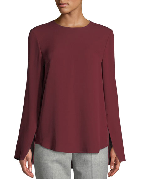 Bringham Crewneck Long-Sleeve Classic Silk Georgette Blouse