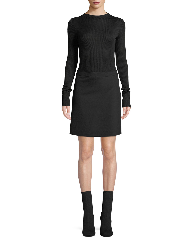 fdce878e69fa Theory Ribbed Combo Mock-Neck Sweater Dress | Neiman Marcus