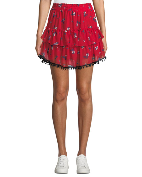 MISA Los Angeles Sasha Floral-Print Ruffle Mini Skirt