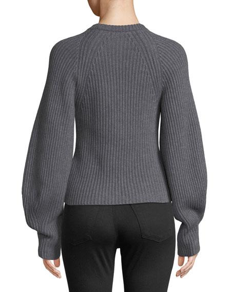 Theory Huron Sculpted-Sleeve Crewneck Merino Wool Sweater