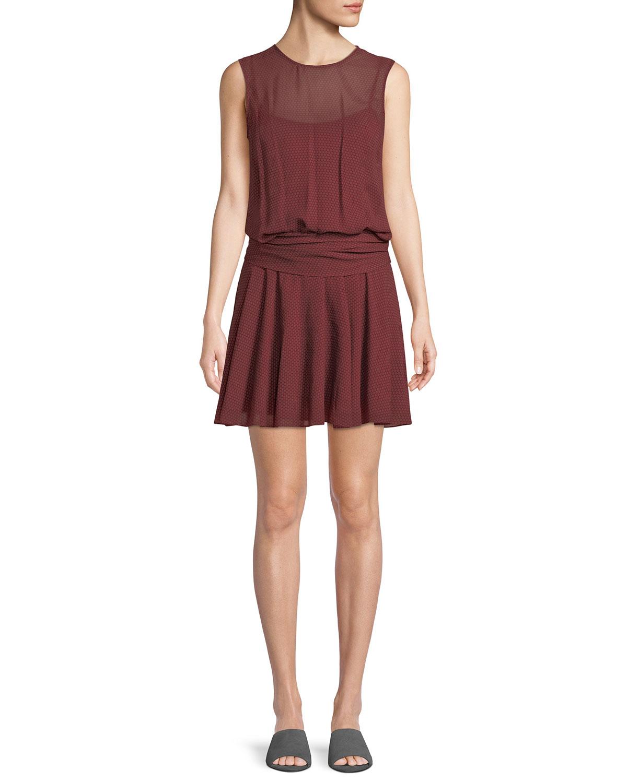 5e0b31d06929 Theory Draped Dot-Print Chiffon Dress | Neiman Marcus