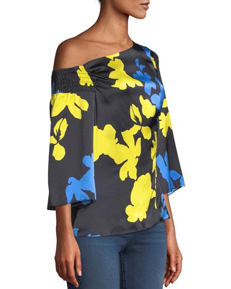 Tanya Taylor Bella Floral Silk One-Shoulder Top