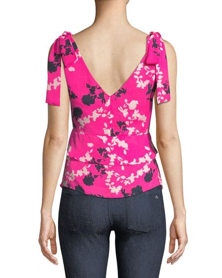Sierra Floral Silk V-Neck Top